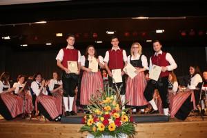 Ehrungen zum 10-jährigen Jubiläum für v. l. n. r. Thomas Wagner, Franziska Leising, Lucas Wagner, Karina Feistner und Nicolas Wagner.